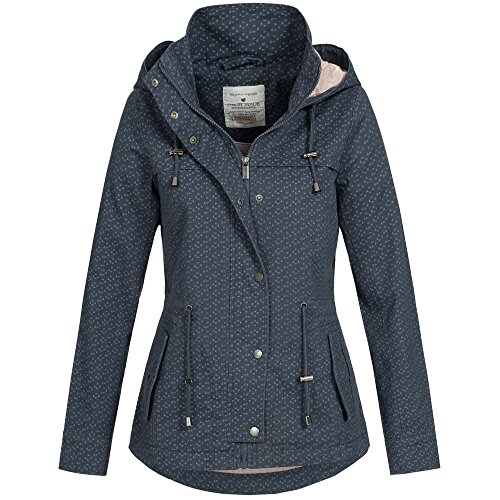 Fresh Made Damen Jacke Übergang Frühling Herbst Baumwoll Parka Mantel 43304 XS-XL, Größe:L / 40;Farbe:Navy