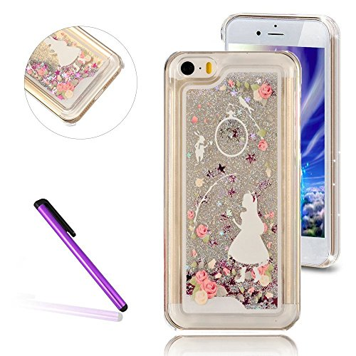 iPhone 5C Hülle,iPhone 5C Case,iPhone 5C Cove,3D Kreativ Muster Transparent Hard Case Cover Hülle Etui für iPhone 5C,EMAXELERS Cute Tier Cat Kaninchen Serie Bling Luxus Shiny Glitzer Treibsand Liquid  B Girl 1