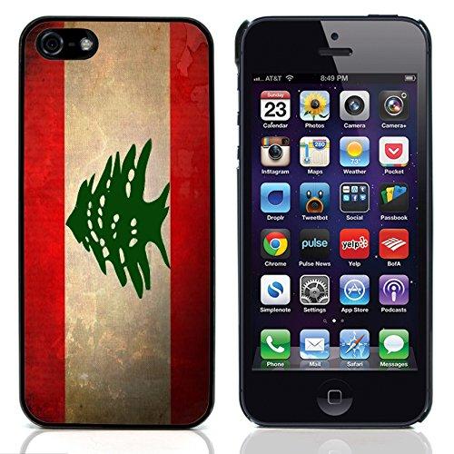 Graphic4You Vintage Uralt Flagge Von Palästina Palästinenser Design Harte Hülle Case Tasche Schutzhülle für Apple iPhone 5 und 5S Libanon Libanesisch