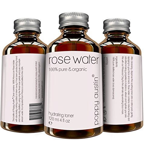 Pure Rose Water Facial Toner by Poppy Austin® – Organic, Hand Made & Responsibly Sourced Skin Toner – Finest, Triple Purified Moroccan Rosewater – USA's Best Skin Care Product 2016 – HUGE 120ml Bottle