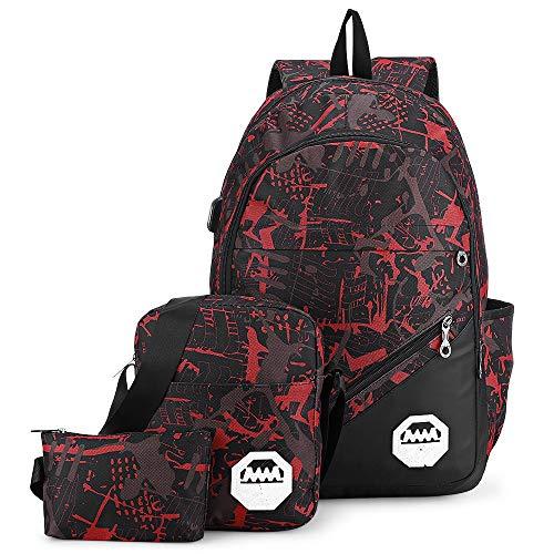 Zaino per scuola Zaino in nylon alla moda Kit 3 PCS di spalle Borsa/Monospalla/Borsa a mano per ragazzi Ragazze Uomo Donna Studente (Rosso Castano)