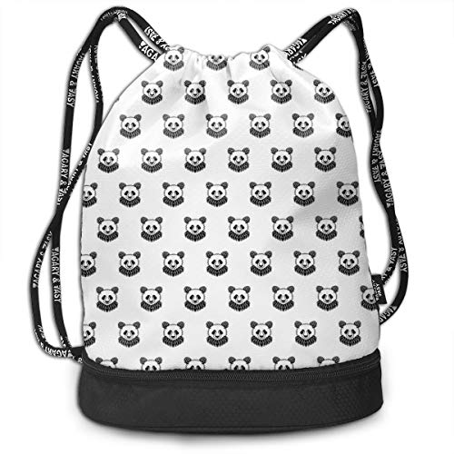 Multipurpose Drawstring Bag for Men & Women, Stylized Panda Bear Portraits Cute Mascots Pattern For Children In Black And White,Tote Sack Large Storage Sackpack for Gym Travel Hiking