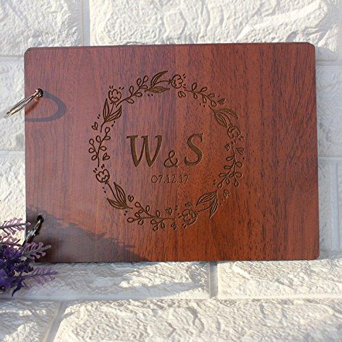 tialen Kranz Hochzeit Gästebuch Vintage Holz Hochzeit Foto Alben Hochzeit Scrapbook Alben Hochzeit Geschenke, personalisierte Geschenke, Jahrestag Geschenke (Personalisierte Hochzeits-alben)