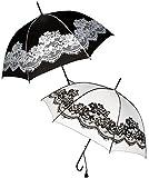 alles-meine.de GmbH Automatik - Regenschirm -  Vintage - mit Blüten Spitze - schwarz  - ø 96 cm - Schirm - Automatikschirm - Stockschirm für - Damen - Herren / Erwachsene - Hoc..