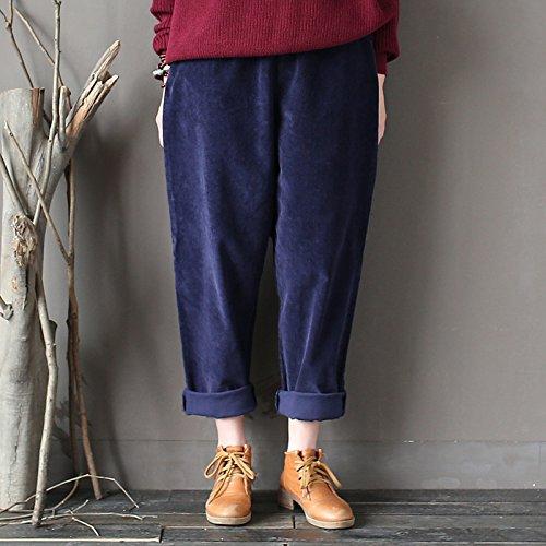 Aeneontrue Femmes Élastique Taille Velours Côtelé Pantalons Casual Loose Harlan Pantalons avec Poches Bleu