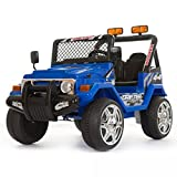 Auto Elettrica Fuoristrada Safari 12V per Bambini 2 Posti Con telecomando Blue