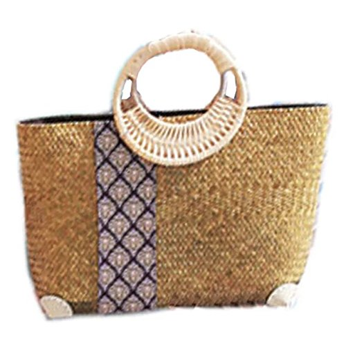 handgemachter stickerei stricken / weben bambus rattan stroh handtasche / umhängetasche (Tote Stroh Natürlichen)