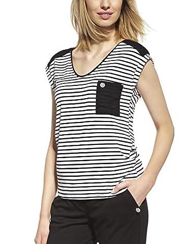 Ennywear 230086 Blouse Feminine Bicolore Style Marin Souple Top Qualité Manches Courtes Col Rond- Fabriqué En UE, noir-blanc,46