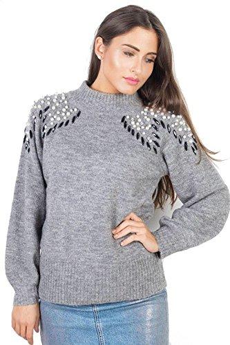 Damen Sweater Perlen Schmuck Stretch Pulli Bodycon Pearl Pullover Grau, Größe:Einheitsgrösse