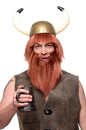 WIG ME UP – Perücke & Bart Herrenperücke Karneval Fasching Wikinger Barbar Viking rostrot rot ()