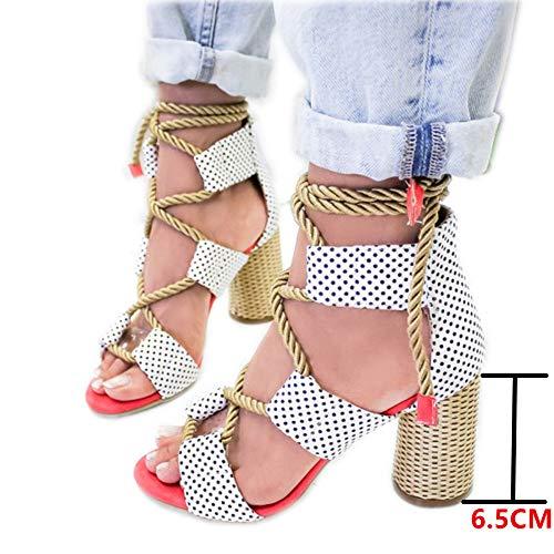Sandalias Mujer Verano 2019 Tacon Alto 6.5CM Sandalias Romanas Cuerda De Cáñamo Zapatos Gladiador...