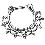 Piersando Piercing Scharnier Clicker Ring Tribal Spikes Spitzen mit Herzen Ornament Vintage Septum für Tragus Helix Ohr Nase Lippe Brust Intim Silber