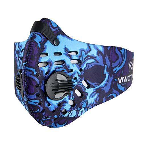 CHIRORO Staubdicht Maske Aktivierte Carbon Mundmaske Atemschutzmaske Verschluß Ventil Feinstaubmaske einstellbar Fitnessmaske Sports Maske für Radfahren Motorrad Ski,Blau
