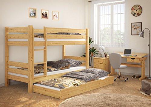 070 m s7m letto di castello 90x200 in legno di pino con assi di legno materassi e - Letto castello amazon ...