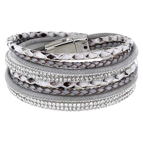 ickelarmband mit Strass und Flechtelement, Magnetverschluss Silber Glanz, Damen Armband (Hellgrau) ()