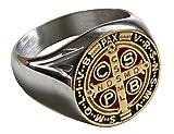 Schöner Ring des Heiligen Benedikt von Nursia Patriarch Moines Okzident