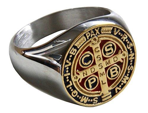 Christian Religion Schöner Ring des Heiligen Benedikt von Nursia Patriarch Mönch Okzident (58 (18.5))