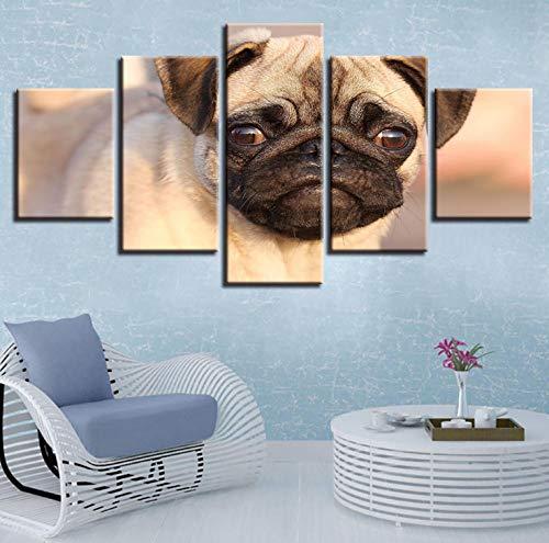 �r Wohnzimmer Dekor 5 Stücke HD Gedruckt Hündchen Augen Mops Malerei Tier Poster Wandkunst Bilder arbeiten ()