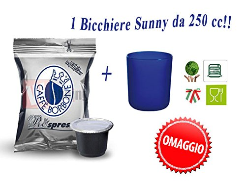 300 Capsule Borbone Respresso miscela Nera compatibili Nespresso + OMAGGIO 1 BICCHIERE DA 250 CC.