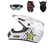 GL- Casco da Motocross per Adulti, Casco Flip Up di Protezione Integrale Casco da Moto per Casco Moto Enduro Fuoristrada Boy Boy