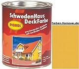 Pigrol Schwedenhaus-Deckfarbe, mais, 2,5L Wetterschutzfarbe Holzfarbe für aussen