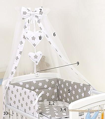 10 PIÈCES ENSEMBLE DE LITERIE POUR LIT DE BÉBÉ/LIT D'ENFANT BALDAQUIN +SUPPORT Blanc gris étoiles (140 x 70cm, #19)