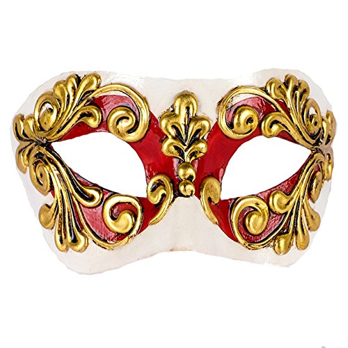 Unbespielt Handarbeit Original Venezianische Maske Damen Colombina Occhi Rot