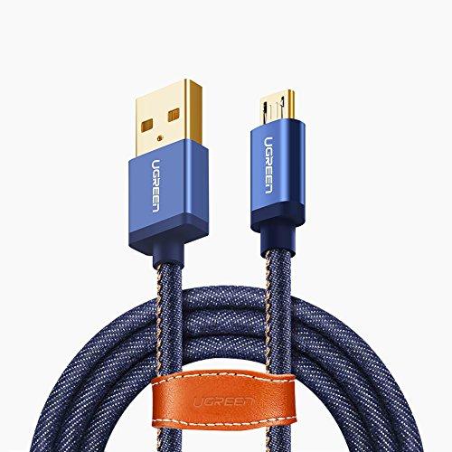 UGREEN Micro USB Kabel 2A USB 2.0 Schnellladekabel Datenübertragungskabel für Android Smartphones, Samsung, LG, Motorola, HTC, Sony, Xiaomi, Huawei, Lenovo, Android Tablets, PS4, Xbox usw Blau 1m