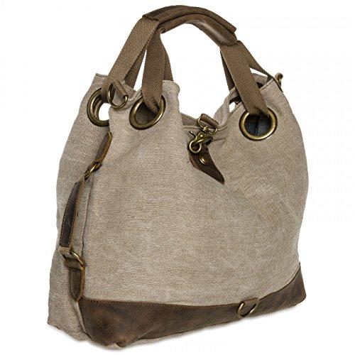 CASPAR Damen Vintage Freizeit Tasche / Ledertasche / Umhängetasche mit stylischem Canvas / Leder Mix - viele Farben - TL675 beige