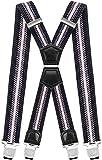 Decalen Tirantes Hombre Elásticos Ancho 40 mm con Clips Extra Fuerte Una Talla Para Todos (Negro Gris Blanco)