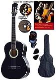Kit guitare classique, noir, Rosewood touche et pont, table en épicéa (laminé), DVD, CD Karaoke, Songbook d