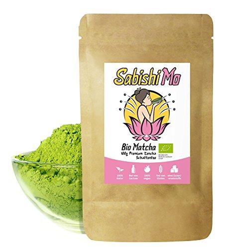 Bio Matcha Tee Pulver 100g (Premium Grade) - Perfekt für Matcha-Smoothies, Matcha-Latte, Cooking, Backen und Mixgetränke - Rohkost Qualität (Handgepflückt) Grüntee im wiederverschließbaren Beutel (100g)