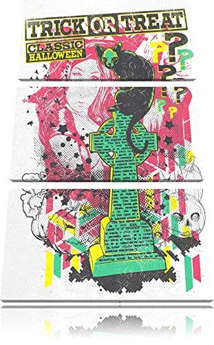 Trick or Treat white 3-Teiler Leinwandbild 120x80 Bild auf Leinwand, XXL riesige Bilder fertig gerahmt mit Keilrahmen, Kunstdruck auf Wandbild mit Rahmen, gänstiger als Gemälde oder Ölbild, kein Poster oder Plakat (Grabstein Zeichnungen Halloween)
