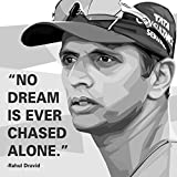 #4: 100yellow Rahul Dravid Quote Printed Unframed Wall Painting Canvas - 12 X 12 Inch