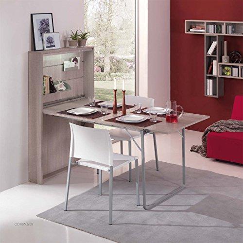 Arredaweb Table Console ouvrant Galileo cm.85 X18 (Ouvert) 84 ou 162 x H.140 Couleur Taupe (Disponible Aussi Blanc Demander par Mail)