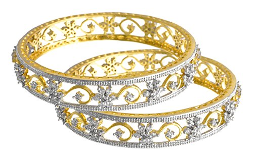 Jfl - Jewellery For Less Traditional Ethnic Fusion Cz American Diamond Floral Flower Designer One Gram Gold Plated Bangle Set For Women