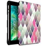 Infiland iPad 9.7 Pouces 2018 Coque Porte-Stylo Protecteur, Smart Housse Étui Cover Case de Protection Ultra Fin avec Support et Mise en Veille Automatique pour iPad 9.7 inch 2018, Carrés de Rose