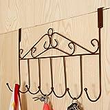 CrazySell Ohne Anlage Über Der Tür Eisen 5 Haken Türhaken für Tasche Kleidung, Mäntel Hüte Roben Handtücher (7 Hooks (bronze))