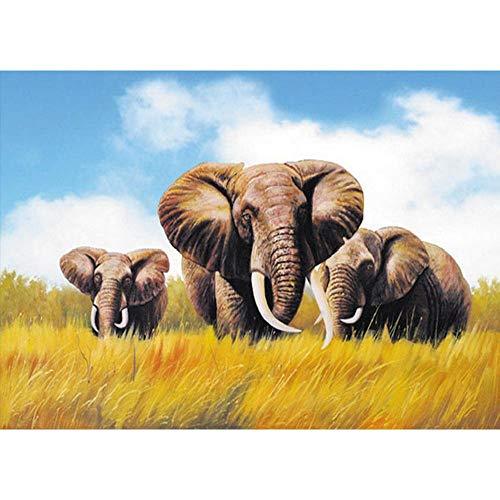 YDPTYANG Niños Puzzle 1000 Piezas Tres Elefantes En La Hierba Adultos De...
