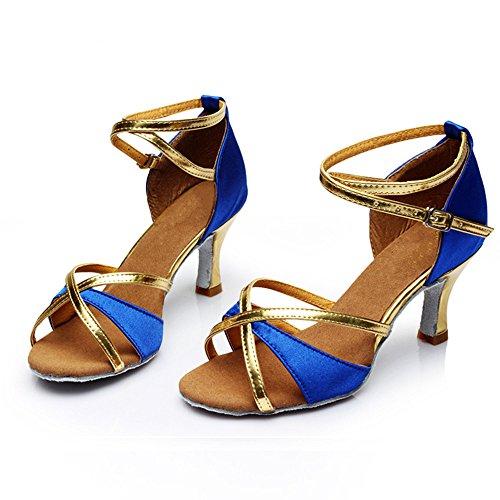 Latin Tanzschuhe mit hohen Absätzen und weichen Boden tanzen Gesellschaftstanz Schuhe Blue
