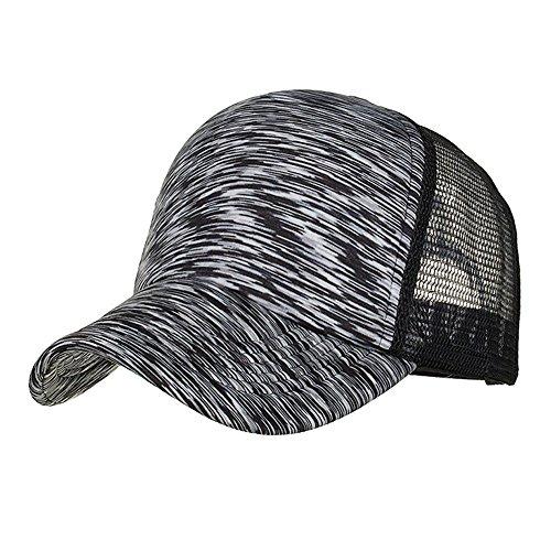 e Frauen Männer Sommer Outdoor Tennis Cap einstellbare Bunte Streifen Baseball Cap Hut Mesh Cap Schatten, verstellbar (Schwarz) ()