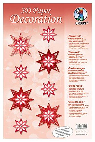 Ursus 21820099 - 3D Paper Dekoration Sterne, rot