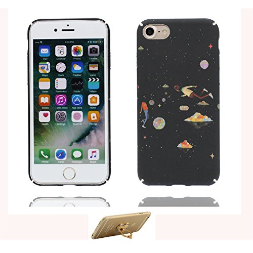 iPhone 7 Custodia, iPhone 7 Copertura 4.7, [ Peso leggero ultra & sottile Silicone Gel Soft Gel ] Cartoon iPhone 7 Case [ Spazio Pianeti galassiali ], antiurto e ring supporto (Libero) Color 3