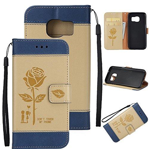 EKINHUI Case Cover Gemischte Farben Rose Blume matt Premium PU Leder Brieftasche Stand Case Cover mit Lanyard & Card Slots für Samsung Galaxy S7 Edge ( Color : Pink ) Gold