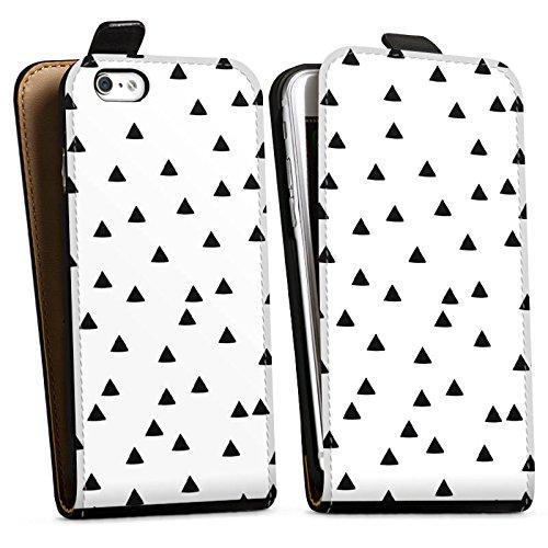 Apple iPhone X Silikon Hülle Case Schutzhülle Dreiecke Schwarz-Weiß Muster Downflip Tasche schwarz