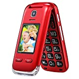 Obooy EG520 Unlocked GSM Clamshell Mobile Phone, SOS Button,Dual Screen with Large Keypad