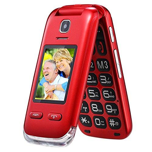 EG520 desbloqueado GSM Clamshell móvil teléfono, botón SOS, pantalla dual con teclado grande y texto predictivo, radio / cámara / linterna / base de carga, tercera edad, rojo.