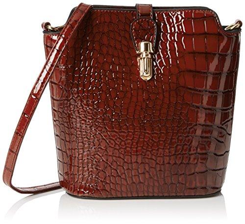 Swankyswans Damen Charlotte Croc Patent Leather Shoulder Bag Brown Umhängetaschen, Braun, One Size -