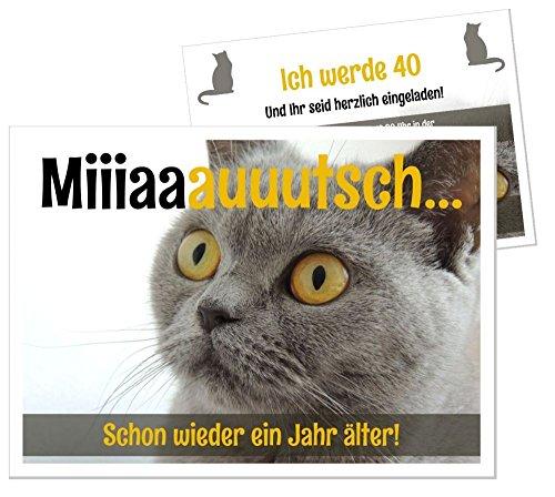 Lustige, Witzige Einladungskarten für runden Geburtstag mit Katze Kater - kostenloser Eindruck Ihres Textes - 30 Stück - DIN A5 groß