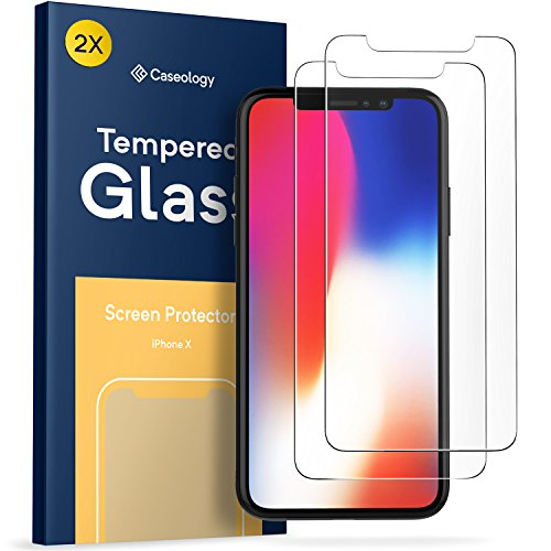 Protector de pantalla para iPhone X, Caseology (cristal templado) Ultradelgado, transparente, calidad HD, dureza 9 H, antiarañazos, inastillable (paquete de 2) para Apple iPhone X (2017)